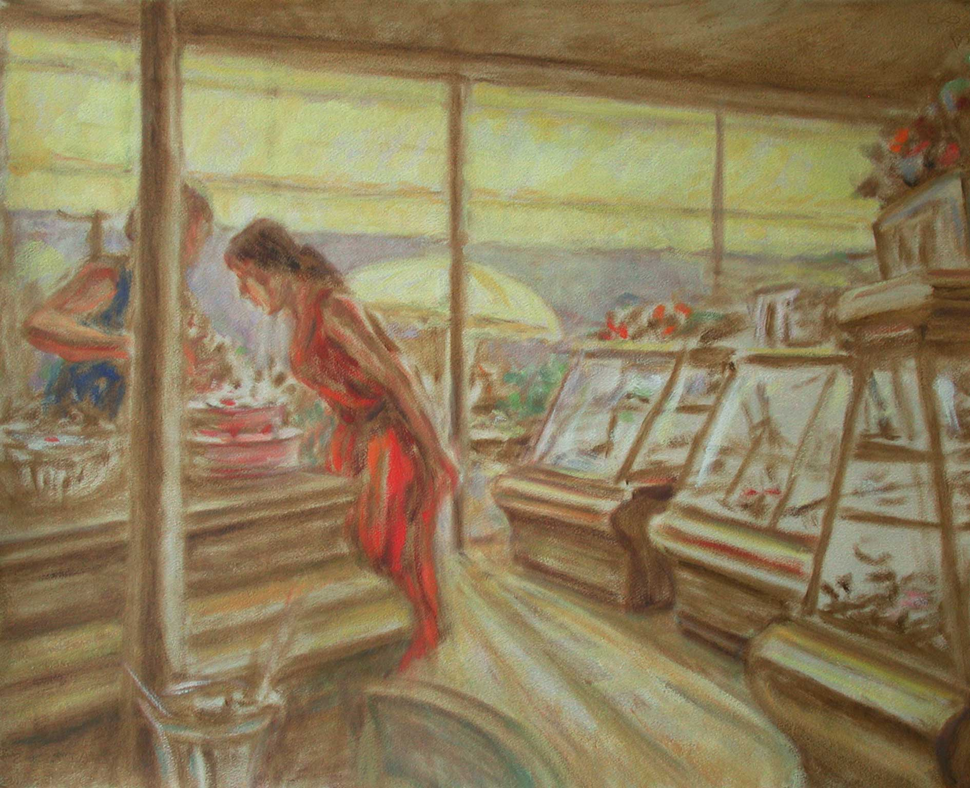 'The pastry shop, quick oil sketch 70 x 55 cm